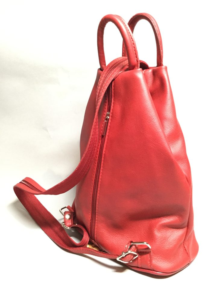 Red Small Leather Rucksack. Double Zip Strap and Handle on Top.