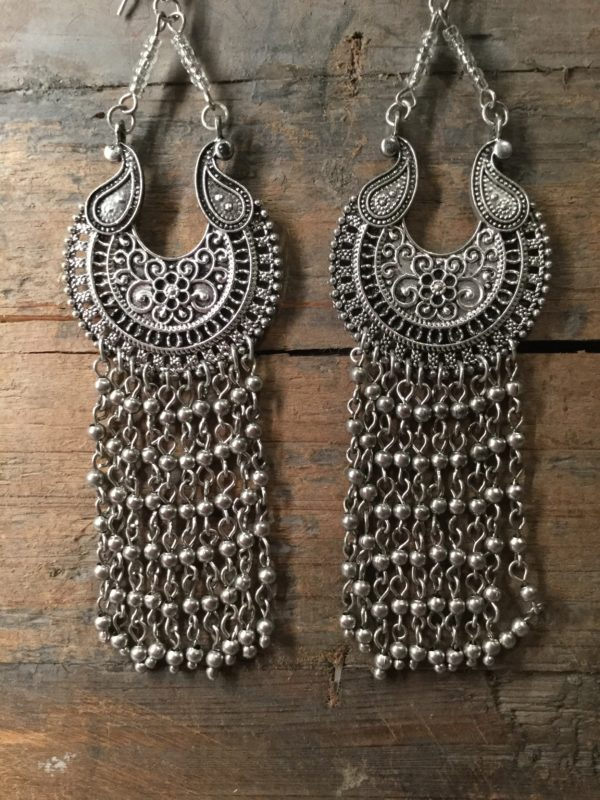 Earrings, costume jewellery, statement, hanging, fashion, style, silver, Moroccan