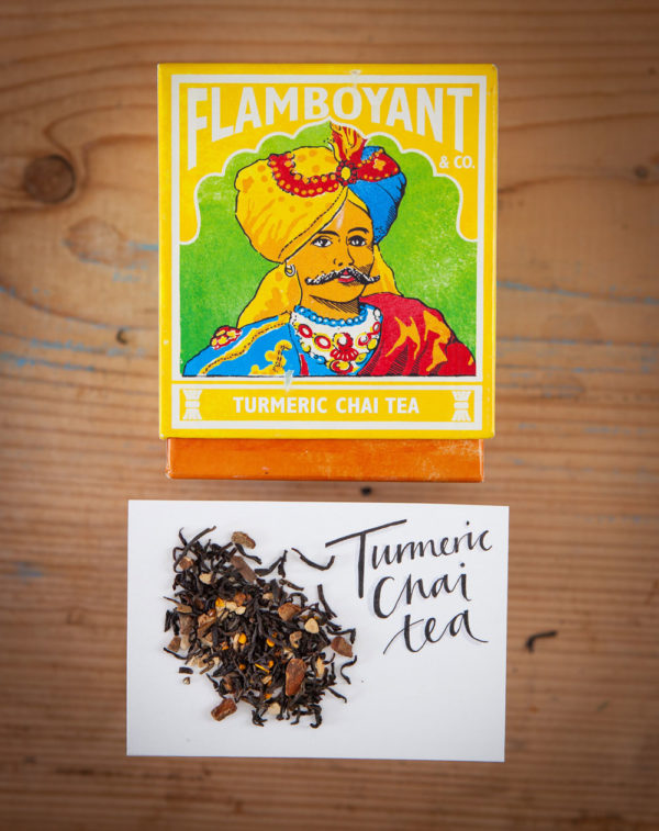 Luxury Flamboyant Turmeric Chai Tea in gorgeous authentic square boxes, blue, green, yellow and red
