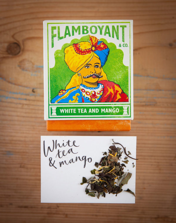 Luxury Flamboyant White Tea and Mango in loose leaf in gorgeous authentic square boxes, blue, green, yellow and red