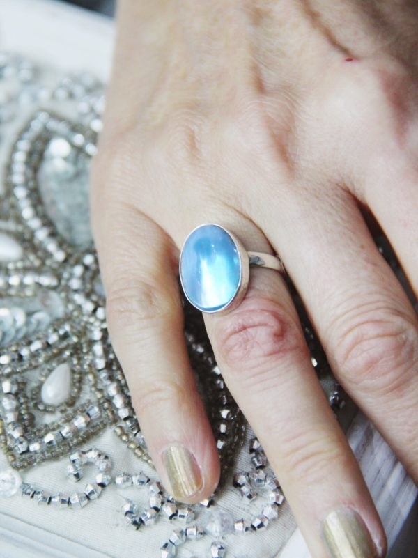 Blue Shell Oval Ring on Sterling silver band.