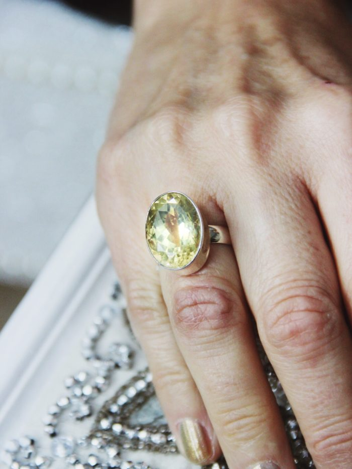Oval shaped Citrine and sterling silver ring