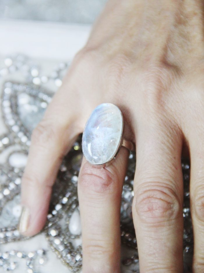 Large Oval Rainbow Moonstone, Sterling silver ring.