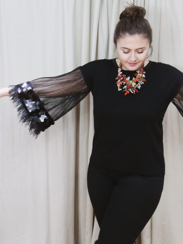 Top, fashion, winter, jumper, top half, statement, black, sequins, feathers, see-through arms