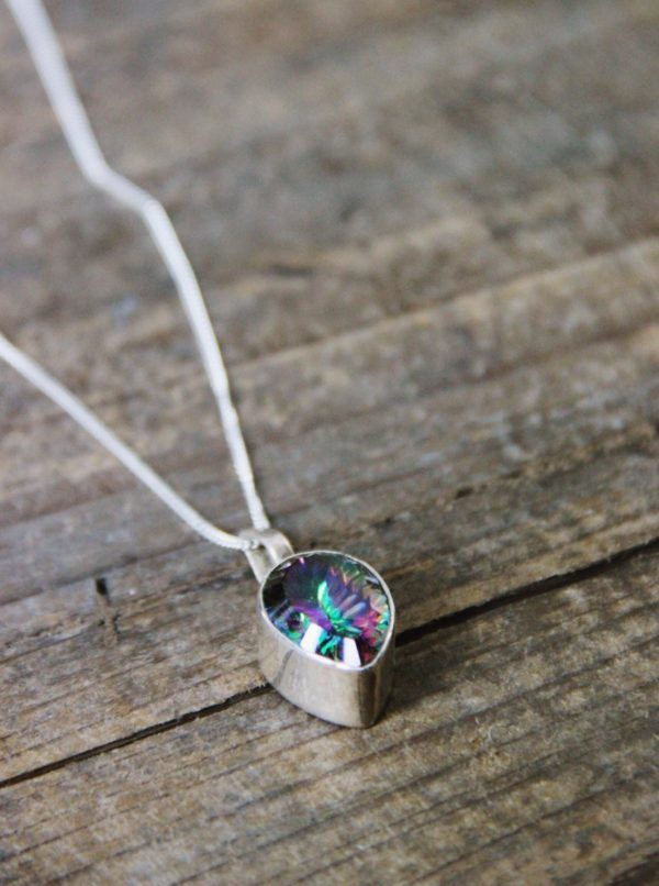 Mystic topaz, sterling silver, pendant, necklace, chain