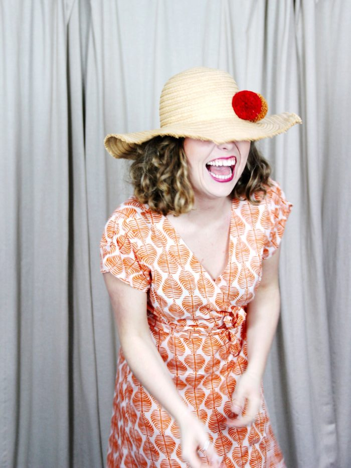 Anita_Leaf_Wrap_Dress_Orange_Lara_Pom_Pom_Hat