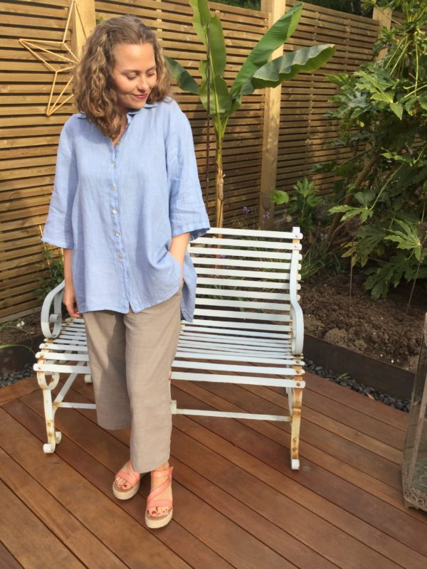 Cinnamon-Shirt-Cornflower-Gemma-Trousers-Stone