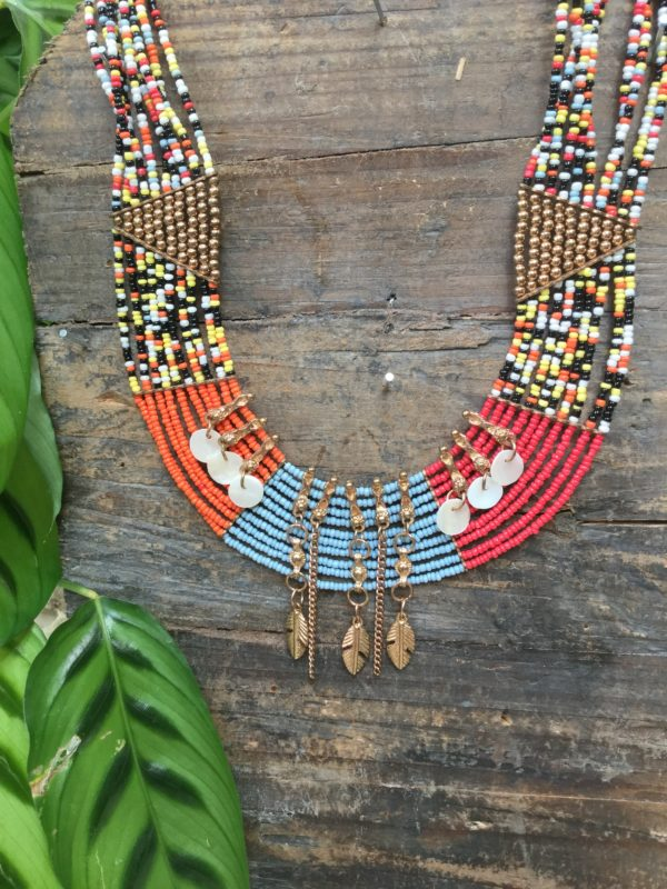 Maeve-Necklace-Multi-Coloured-Beads-Gold-Feather-Shell