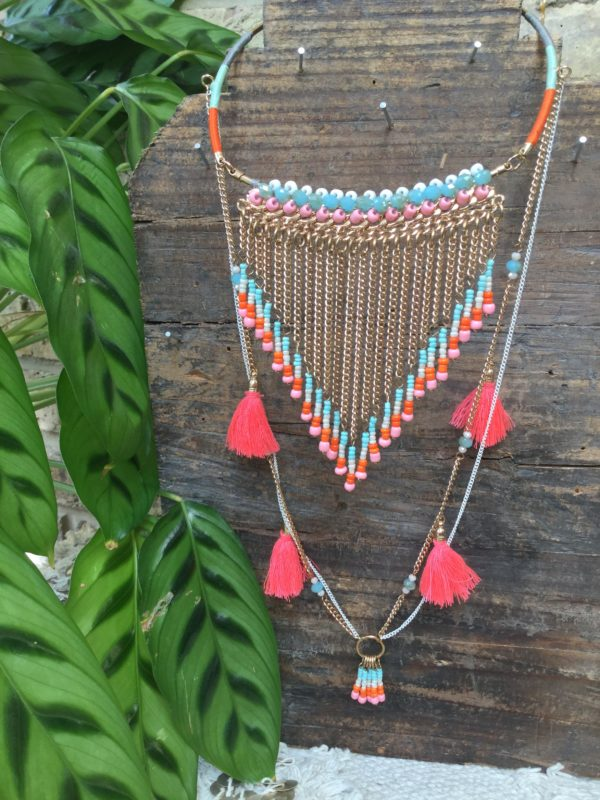 Miami-Necklace-Coral-Tassel-Blue-Pink-Beads-Gold-Chain