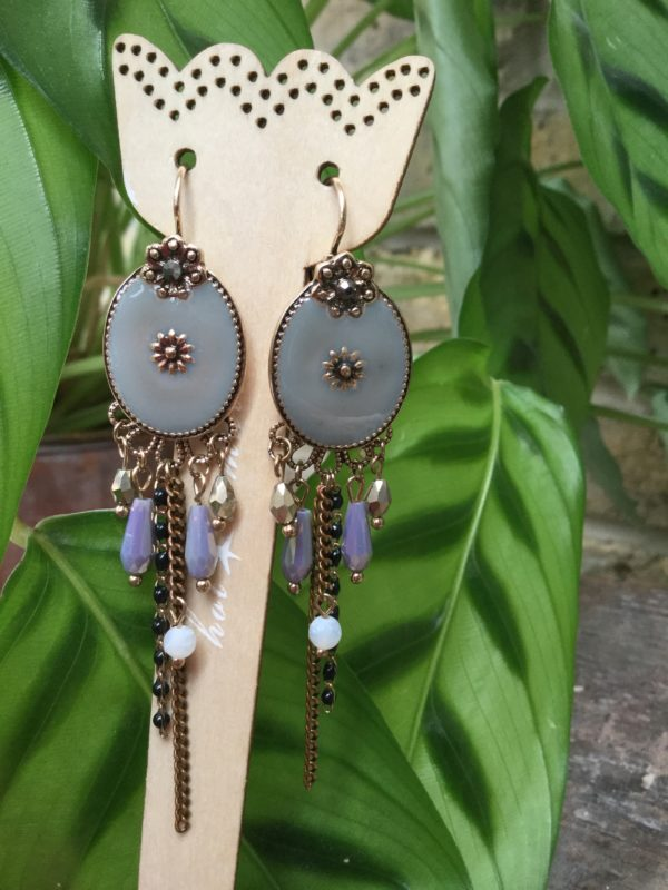 Amelie-Earrings-Grey-Gold-Oval-Antique-Beads