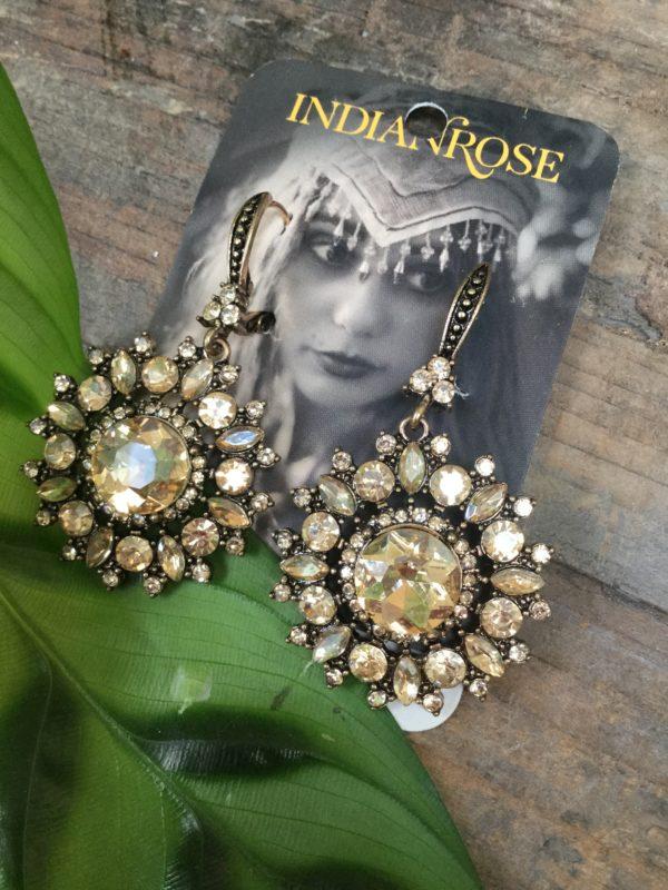 Crystal-Champagne-Diamonte-Mandal-Pattern-Earrings