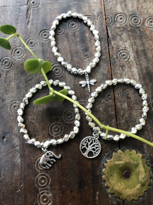 Bay-Bracelets-Silver-Plated-Elephant-Dragonfly-Tree-Of-Life