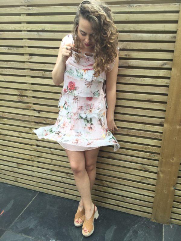 Mermaid-Dress-Short-Floral-Pink