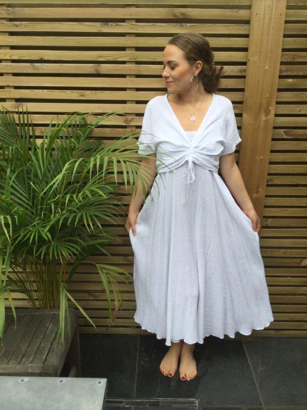 Bolly-Drawstring-Dress-White