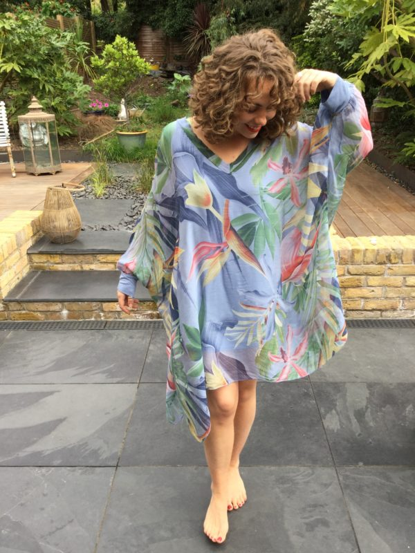 Coco-Dress-Blue-Bold-Colourful-Tropical-Pattern