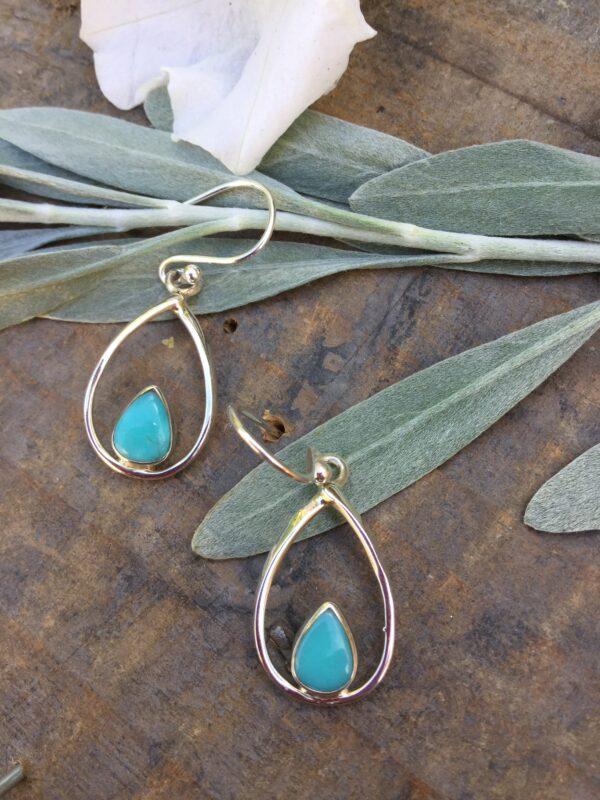 Turquoise-Open-Tear-Shaped-Silver-Earrings