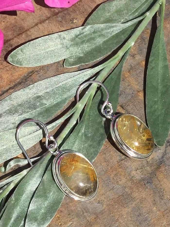Rutulated-Quartz-Silver-Drop-Earrings